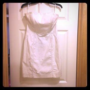 Rachel Roy strapless white denim dress